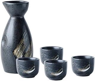 Osaka Sake 5-delars set, hållbara keramiska japanska sakesatser, oregelbunden form Delikat hantverk traditionellt, ingår i...