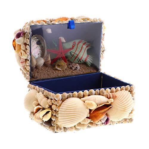 Li'Shay Seashell Treasure Chest with Ocean Scene Inside