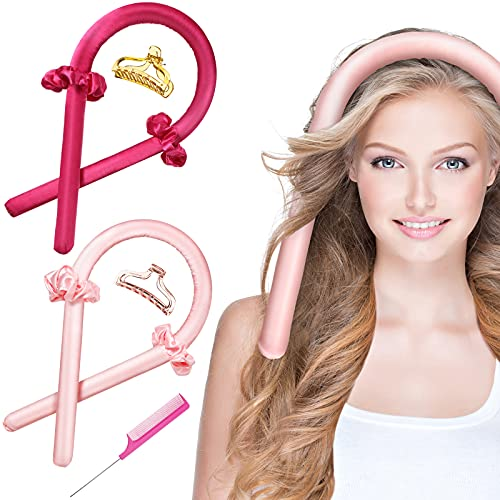 9 Pieces Heatless Hair Curlers No Heat Curling Rod Headband Soft Foam Hair Rollers No Heat Hair Curler Nature Styling Set You Can To Sleep In Overnight for Women Long Hair (Pink and Rose Red)