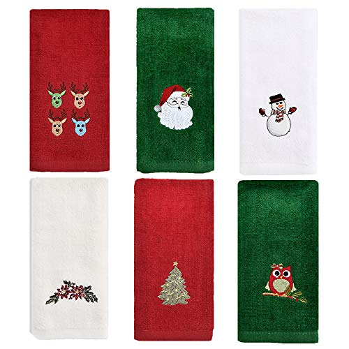 ZiegLad Christmas Hand Towel for Bathroom Kitchen, 100% Cotton, Set of 6, 12x18 inches, Decorative Dish Towels Set, Embroidered Holiday Design Christmas Towels Gift Set, 3 Color (Red, Green, White)