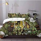 HunttyNan Bed Sheets Set Teenage Mutant Ninja Turtles Bed Sheets and Comforter Set Bedding 3 Piece Duvet Cover Set Queen