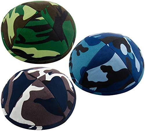Pack of 3 Pcs Hq 19cm 3 Colors Kippah with Army Look IDF US Navy for Men Boys and Kids Yamaka product image
