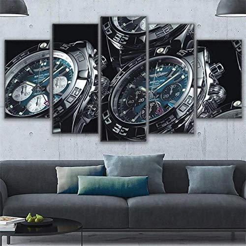 Cuadro Relojes Breitling XXL Impresiones En Lienzo 5 Piezas Cuadro Moderno En Lienzo Decoración para El Arte De La Pared del Hogar 150×80 Cm HD Impreso Mural (Sin Marco)