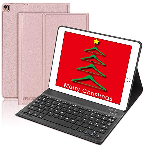 Custodia Tastiera Italiano per iPad 10.2, SENGBIRCH Custodia con Bluetooth Tastiera per iPad 10.2 2019(7th Generazione)/iPad Air 3/iPad PRO 10.5,con Magnetica Smart Auto Wake/Sleep Cover - Oro Rosa