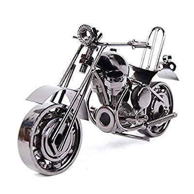 Creative Iron motorcycle model motorcycle modern ornaments personalized birthday present for boyfriend Photography Props(gun gray)