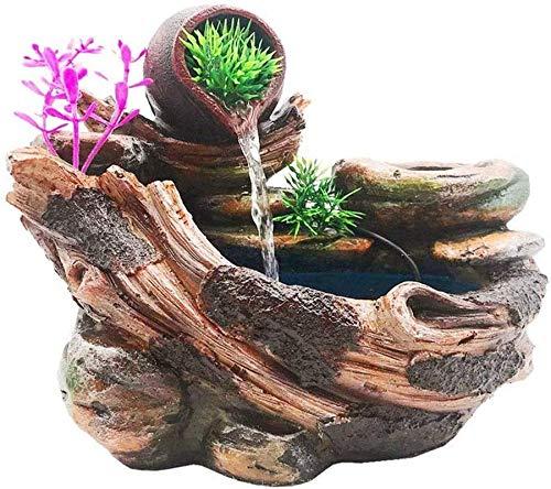 Living Equipment Fuente de Escritorio Cascada Interior y Bomba de Agua Puede Plantar Flores y Plantas Fuente de Mesa Adornos de Feng Shui Decoración de Fuente