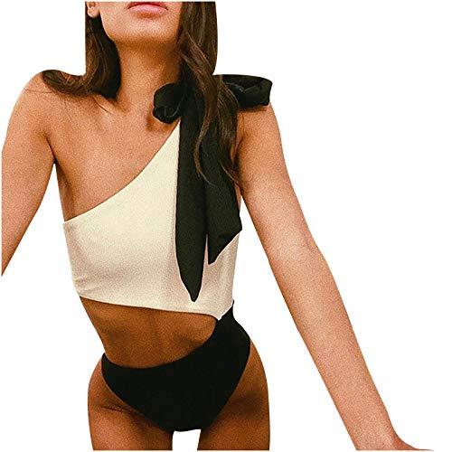 YANFANG BañAdor Mujer Bikini Trajes De BañO Tanga TriáNgulo Suave Acolchado Tops Y Braguitas Conjuntos Bikinis BrasileñO Traje Sexy Color SóLido Halter Vendaje Dividido Conjunto Ropa Playa