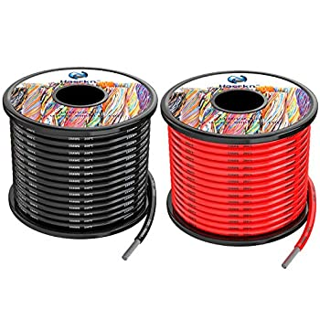 10 awg 5.2mm² Silicone Electrical Wire Cables 50 Feet [25ft Black and 25ft Red] 10 Gauge 600V Soft and Flexible Hook Up Oxygen Free Stranded Tinned Copper Wire Model Battery Cable