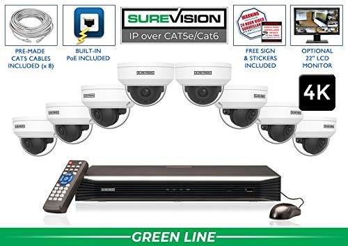 Find Discount SUREVISION 8 Camera 4K Complete Indoor/Outdoor Vandal Dome IP System - CCTVSecurityPro...