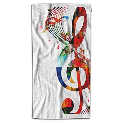 Moslion Music Bath Towel 32x64 Inch Artwork Musical Notes Rhythm Song Ornamental in Vibrant Colors Fantasy Towel Soft Microfiber Hand Beach Towel for Women Men Bathroom