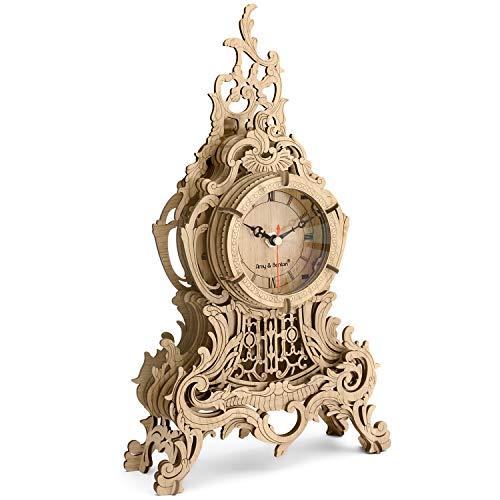 Amy & Benton 3D Puzzle Holz Uhr für Erwachsene Modellbau, DIY Lasergeschnittener BAU Modellbausätze Uhr, Baroque-Light