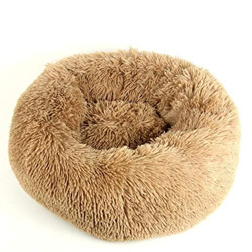 YESHUOYS Dog Bed Sofa with Removable Washable Cover - Pet cat litter dog kennel four seasons universal long hair round kennel-white