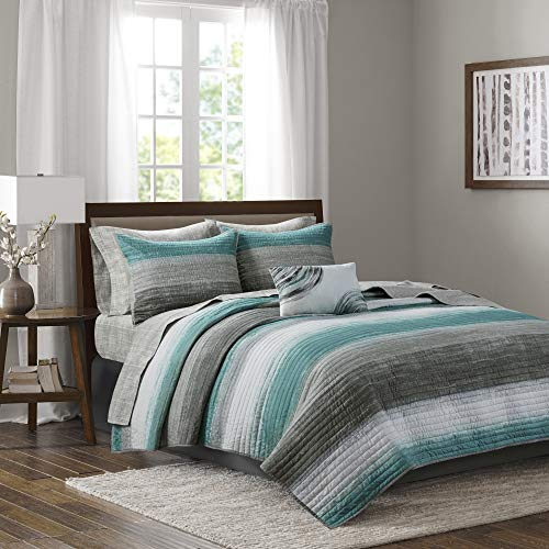 Madison Park Essentials Saben Complete Reversible Coverlet and Cotton Sheet Set, King, Aqua
