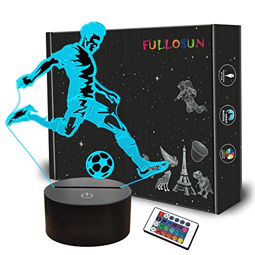 FULLOSUN Soccer Night Light, 3D Optical Illusion Lamp for Soccer Fan, Idea Birthday Xmas Gifts for Sport Fan Boys Girls with Remote Control 16 Color Change + Dim Function + 4 Flash Mode