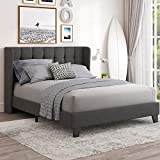 Einfach Full Upholstered Wingback Platform Bed Frame with Headboard/Mattress Foundation with Wood Slat Support and Square Stitched Headboard/No Box Spring Needed/Easy Assembly, Dark Grey