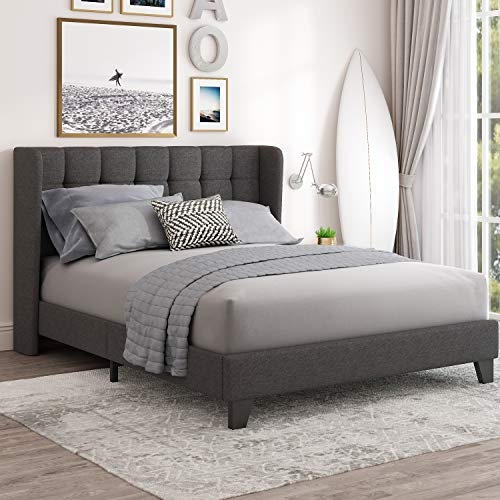 Einfach Queen Upholstered Wingback Platform Bed Frame with Headboard / Wood Slat Support and Square Stitched Headboard/No Box Spring Needed / Easy Assembly, Dark Grey