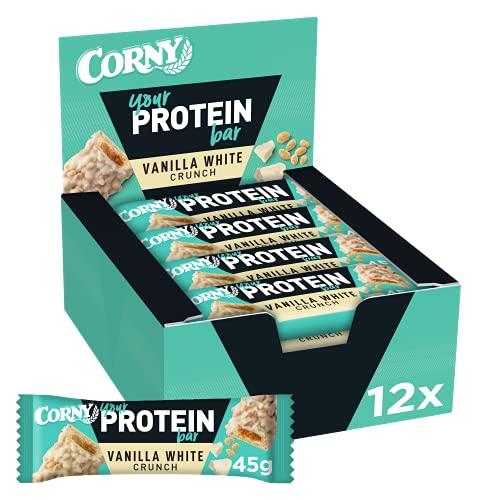 Corny Your Protein Vanilla White Crunch, Eiweiß-Riegel mit 30 Prozent Protein, ohne Zuckerzusatz, 12er Pack (12 x 45g)