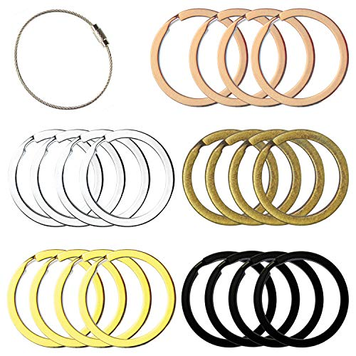Flat Key Rings Key Chain Metal Split Ring 40pcs (Round 1.25 Inch Diameter), for Home Car Keys Organization, Arts & Crafts, Lanyards, Lead Free Colored (Black, Silver, Gold, Copper, Antique Brass)