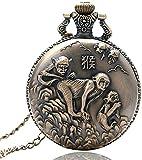 SILOLA Neueste Taschenuhr, Chinese Zodiac Bronze Monkey Pattern Quarz Taschenuhr Für Geschenke für Männer Frauen Jungen