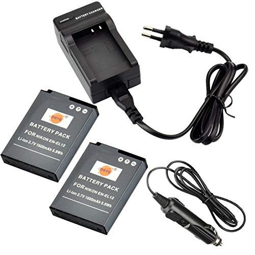 DSTE®(2 Pack)Ersatz Batterie und DC03E Reise Ladegerät Kit für Nikon EN-EL12 Coolpix P300 P310 P330 P340 S31 S70 S610 S620 S630 S640 S800c S1000pj S1100pj S1200pj S6000 S6100 S6150 S6200 S6300