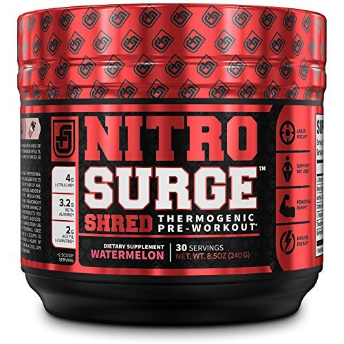 NITROSURGE Shred Pre Workout Supplement - Energy Booster, Instant Strength Gains, Sharp Focus,...