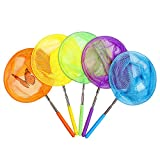 TSYAN Kids Telescopic Butterfly Fishing Nets Great for Catching Insects Bugs Fish Caterpillar Ladybird Nets Outdoor Tools Colorful Extendable 34' Inch (5 Pack)