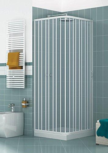 Caldoni Manen - Cabina de ducha angular de 70 x 100 cm, 1 puerta con fuelle de PVC H185, color blanco