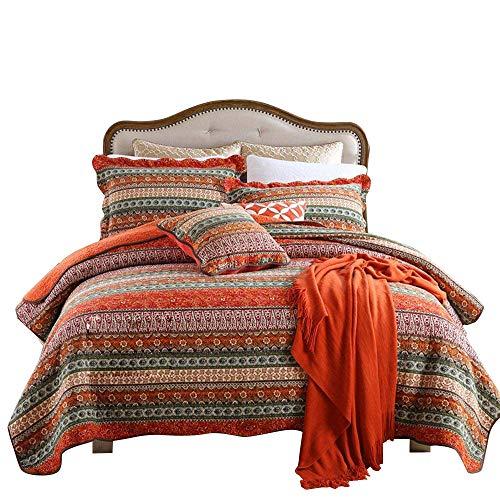 HNNSI Exotic Bohemian Quilt Sets Queen Size 3 Pieces, Comfy Cotton Striped Patchwork Boho Bedspread Sets Boho Bedding Sets