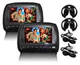 "Elinz 2x 9"" LCD Black Headrest DVD Player Car Monitor Pillow 1080P USB"