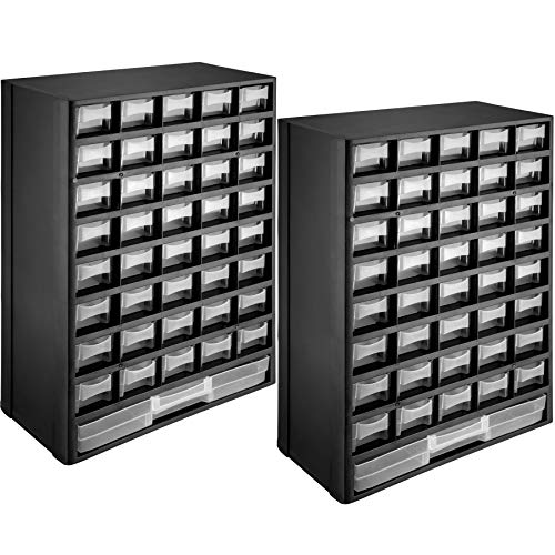 tectake 403515 Set 2x Portaminuteria Cassettiera con 41 Cassetti ABS, Dispositivi per Montaggio a Muro, Moduli Armadio Contenitori, 30x13,5x45 cm, Nero