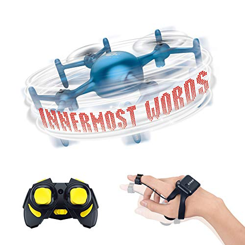 JODELA Drone Gesture Sensor Led Display Text Can be Customized to Edit Text Two Battery Boy and Girl Gifts (Blue)