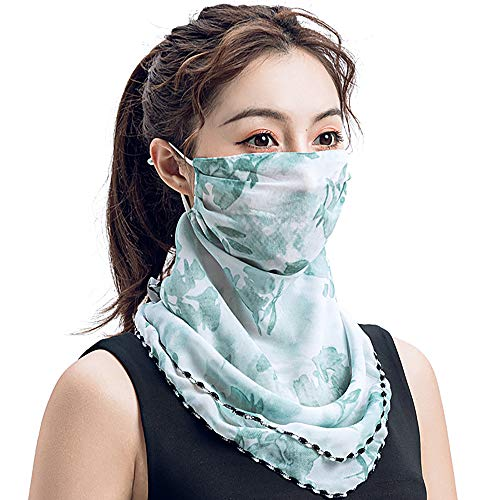 SolForis Fashion Face Scarf Mask Printed Scarf Cool Lightweight Summer Protection Scarf Bandana UV Protective for Outdoor (G)