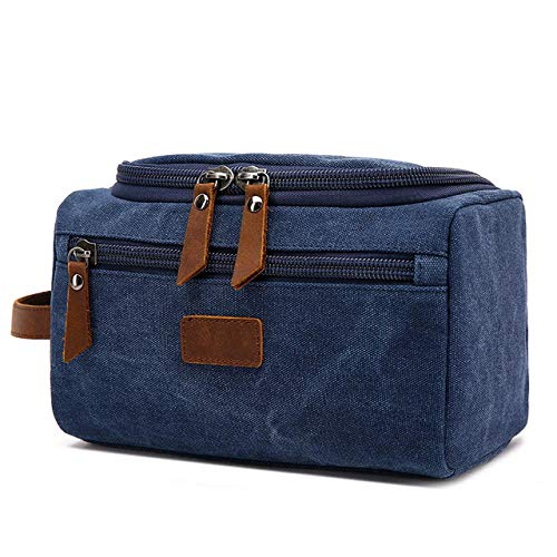Kit de Rasage pour Le Visage pour Hommes Dopp Women Travel Makeup Cosmetic Bag Bag Holster Canvas Wash Bag-Blue