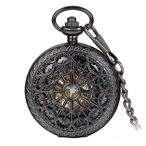 Avaner Orologio da Tasca Taschino Meccanico da Uomo,Stile Gotico Steampunk, Forma di mano di scheletro,Numeri Romani,Colore nero