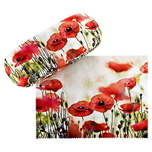 VON LILIENFELD Brillenetui Mohnblumen Brillenputztuch Brillenbox Stabiles Hardcase Set mit Putztuch Blüten