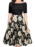 oxiuly Women's Chic Off Shoulder Short Sleeve Work A Line Midi Dress Vintage Floral Patchwork with Pockets Party Cocktail Swing Dresses OX232 (XXL, Black Khaki)