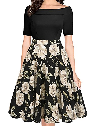 oxiuly Women's Elegant Off Shoulder Floral Summer A Line Dresses Casual Stretchy Party Work Swing Dress with Pockets OX232 (L, Black Khaki)
