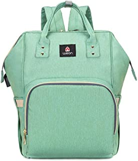 Hamkaw Diaper Bag Backpack with USB Diaper Bag Multifunction Tote Diaper Bag with Insulated Pockets Stroller Hooks Large Capacity Waterproof Travel Backpack (Green)