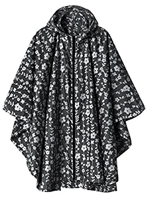 Waterproof Rain Poncho Jacket Coat for Adults Hooded with Zipper(Black Floral)
