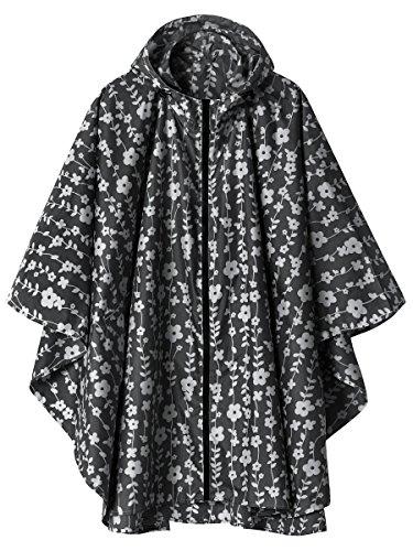 Imperméable Poncho avec Capuche Zip pour Adulte Fleur Noir