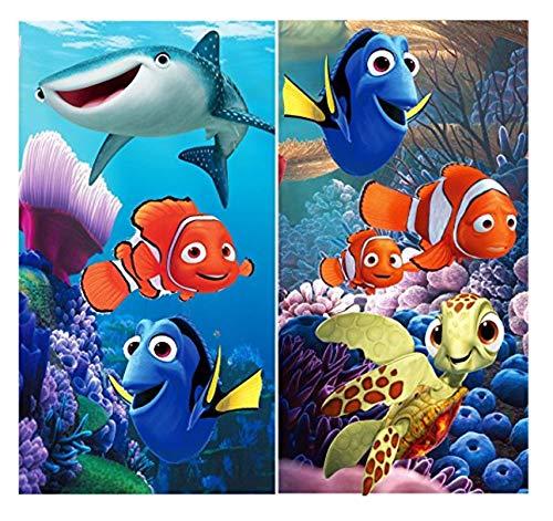 2 x Disney Finding nemo/Dory Kinder Handtuch/Saunatuch/Strandtuch/Duschtuch/Badetuch - 35 x 65 cm - aus Baumwolle- tolle Geschenkidee- Nemo - Dory