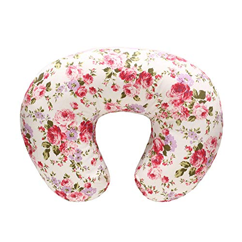 LAT Nursing Pillow and Positioner,Best for Mom Breastfeeding Pillow,100% Cotton Soft Fits Snug On Infant (Flower)