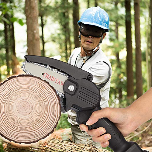 Mini Chainsaw,4 Inch 24V Portable Cordless Convertible Electric Chainsaw ,the Power Saw Can be Easily Operated by One Hand, Safely Cut Branches, Wood and Trees Quickly(2 Batteries and 2 Chain)
