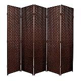 Separador de espacios plegable de 6 paneles, marrón oscuro, 5