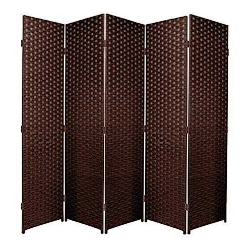 SaleemExpress Room Divider Screen Privacy Panel - Folding Paravent 5 Panel Divider Screen - Partition Wall Panel Privacy Furniture - Dark Brown