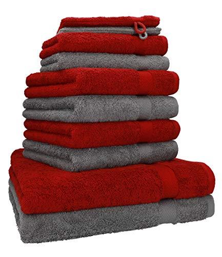 Betz 10-TLG. Handtuch-Set Premium 100prozent Baumwolle 2 Duschtücher 4 Handtücher 2 Gästetücher 2 Waschhandschuhe Farbe Dunkel Rot und Anthrazit Grau