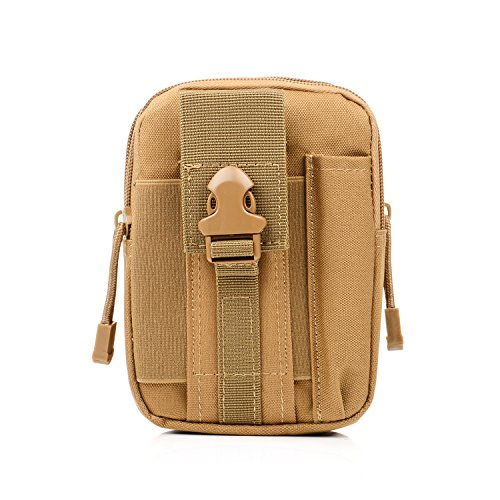 liangdongshop Tactical Molle EDC Utility Gadget Pouch Compact Multipurpose Belt Waist Hip Bag with Cell Phone Holster Holder(Without Strap-Khaki)