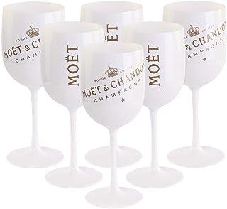 6 x Moët & Chandon Ice Imperial Champagner Acryl-Glas 0.45l Becher Kelch weiss/gold Gläser Set inkl. Untersetzer 6 x Stück