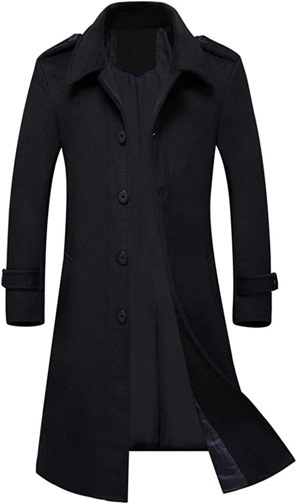 Boyland Men's Wool Blend Trench Coat Slim Fit Single Breasted Buttons Coat Outwear 3 Colors