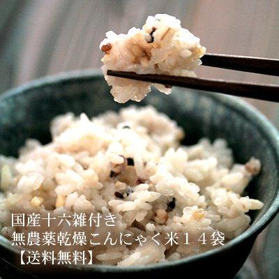 伊豆河童 河童のごはん 雑穀付き 14袋セット (60g+20g)×14 乾燥こんにゃく米 無農薬 国産十六雑穀